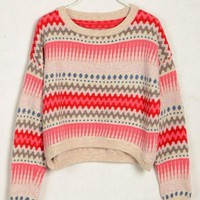 BlueBand — Tribal Print Pink Vintage Loose Sweater