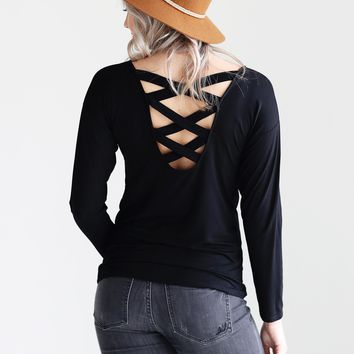 Black DLMN Long Sleeve Criss Cross Back Top
