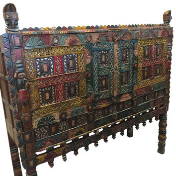 Antique Console Damchia Banjara Tribal Sideboard Hand Carved Painted Colorful Chest Jaipur India 18c FREE SHIP SAVE