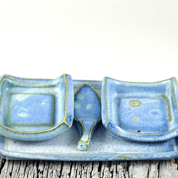 Tapas Plates Serving Tray and Spoon Set Handmade Ceramics Stoneware Pottery Blue Condiment Dishes