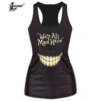 """We're All Mad Here"" Black Digital Printed Punk Tank Tops Fitness Women Fashion Vest Female Sexy Elastic  Camisoles F60"