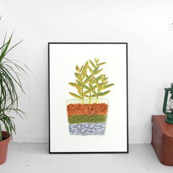 Succulent print, succulent, wall art prints, guache print, art prints painting, gallery wall art, drawing illustration