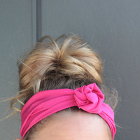 Hot Pink Summer Twist Head Scarf Dolly Bow Wire Headband Bun Wrap