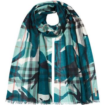 Burberry Painted Camo Check Gauze Scarf Teal $365