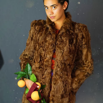 Rustic vintage curly lamb fur coat / mid brown persian lamb Mongolian afghan jacket