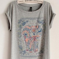 Cotton T-shirt with Walking Elephant Print Grey GRQ349 from topsales
