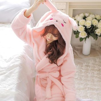New Plush Robe Adult Animal Mouse Pajamas Long Sleeve Lovely Rabbit Sleepwear Pink Bath Robes Dressing Gowns Women Gray Bathrobe
