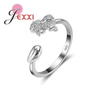 JEXXI Hot Promotion Frog Open Ring For Women Fashion Jewelry 925 Sterling Silver Cubic Zircon Crystal Party Finger Rings