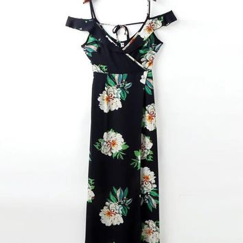 Streetstyle  Casual Open Shoulder Floral Printed Maxi Dress