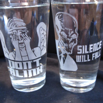 Doctor Who 16 oz GlassesSet of 4 by geekyglassware on Etsy