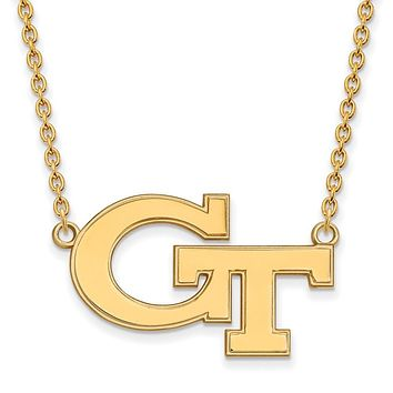 NCAA 10k Yellow Gold Georgia Technology Large 'GT' Pendant Necklace