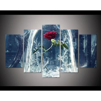 5 Panels  Home Decor Items Canvas painting Beauty And The Beast Red Rose Movie Posters art Illustrated Canvas Printign for Home