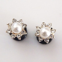 Glamsquared — Pearl Rhinestone Steel Plugs