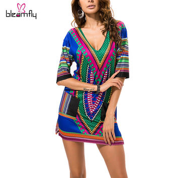 Dashiki Dresses Women Boho Tranditional African Print Sexy V-neck Summer Indian T Shirt vintage Dress 2016 Tunic Clothing Robe