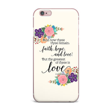"Noonday Design ""Faith, Hope, And Love"" Beige Multicolor iPhone Case"