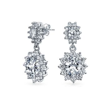 Oval Bridal Prom Crown Drop ed Dangle CZ Stud Earrings Rhodium Plate