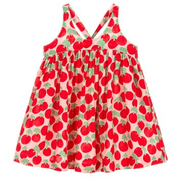 Baby Girls Red & Pink Cherry Dress with Bloomers Set