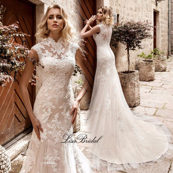 Robe de mariage Sexy Mermaid Wedding Dresses 2017 High Neck Cap Sleeve Court Train Applications Tulle Bridal Gowns Vestido longo