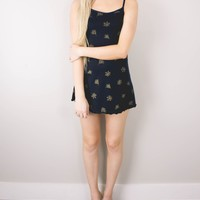 Vintage 90s Floral Navy Grunge Mini Dress