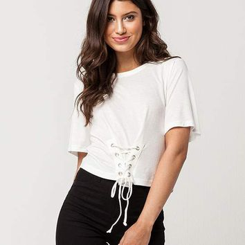WHITE FAWN Corset Womens Tee | Knit Tops + Tees