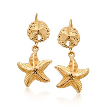 Ross-Simons 14kt Yellow Gold Sand Dollar and Starfish Drop Earrings