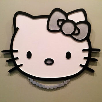 Hello Kitty wall decor, nursery wall decal, girls room decor, Audrey Hepburn Hello Kitty wall art, nursery wall art, baby gift, carved