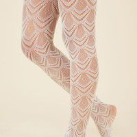 Fan the Fame Tights in White | Mod Retro Vintage Tights | ModCloth.com