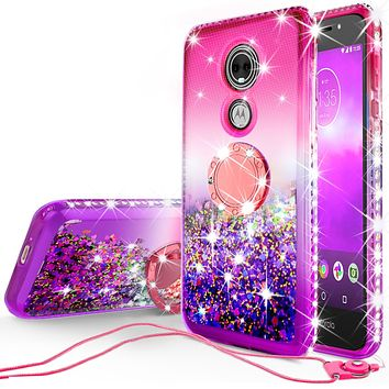 Glitter Phone Case Kickstand Compatible for Motorola Moto E5 Play, Moto E5 Cruise Case,Ring Stand Liquid Floating Quicksand Bling Sparkle Protective Girls Women for Moto E5 Play/E5 Cruise - (Pink Gradient)