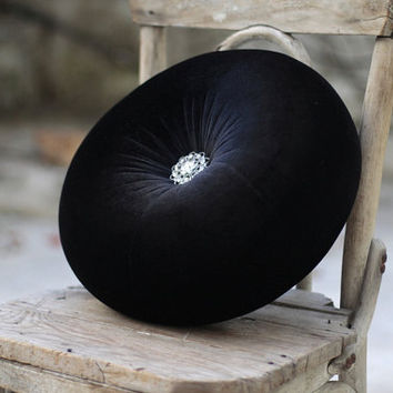 "Black velvet round pillow 16"" with vintage looking rhinestone button"
