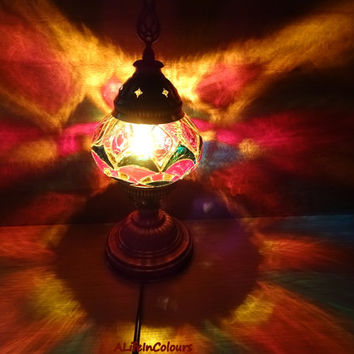 Handmade unique Turkish stained glass colourful decorative table lamp, bedroom night lamp, bedside light, desk lamp.