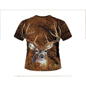 11085-6392-BROWN - DEER BROWN T-SHIRT