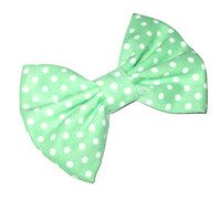 Mint green bow, polka dot fabric hair bow, preppy school girl bows, rockabilly trendy fashion accessories, teen tween hair clips