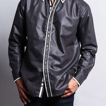 Solid Contrast Double Button Up Shirt SH306 - D3I