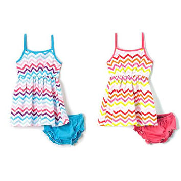 Baby Girl Knit Dress with Panty - Chevron Print