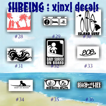 SURFING vinyl decals - 28-36 - SURFER car sticker - Surfer Girl decals - car window stickers - vinyl stickers - car stickers - wall decals