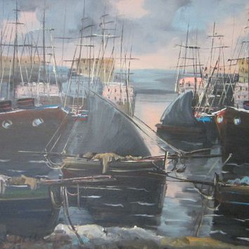 Nautical Marine Contemporary Signature Oil On Canvas Fisherman Sailing Boats