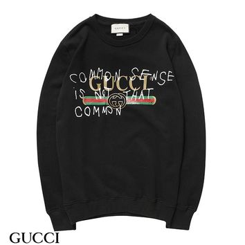 KUYOU G007 Gucci Round neck Logo fur collar sweater Black