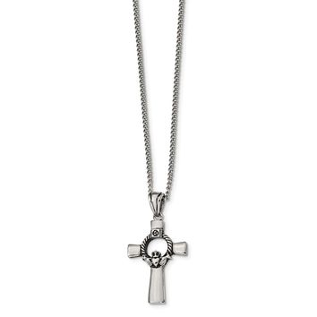 Stainless Steel Antiqued and Polished Claddagh Cross Necklace 22 99d1ca8d298f