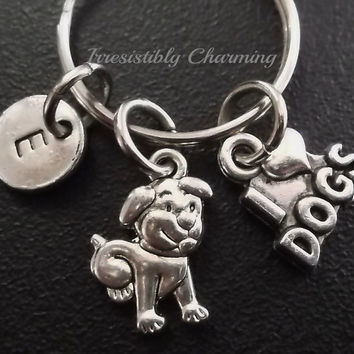"Little puppy dog ""I Love Dogs"" keyring, keychain, bag charm, purse charm, monogram personalized item No.419"