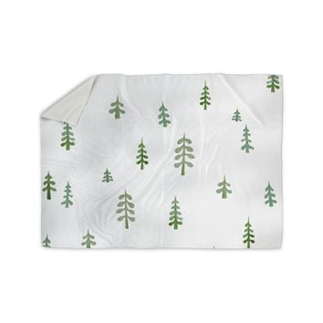"""Jennifer Rizzo """"Watercolor Pine Trees"""" Green White Nature Abstract Watercolor Painting Sherpa Blanket"""