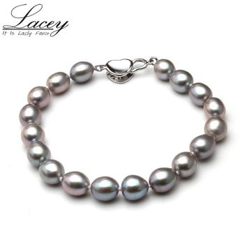 Natural freshwater pearl bracelets & bangles women jewelry,gray pearl beads bracelets for girls Valentine's Day gift