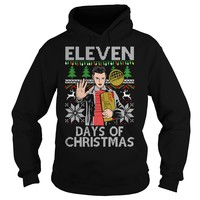 Eleven days of christmas stranger things ugly hoodie sweater