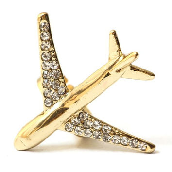 Jumbo Jet Ring Gold Tone Crystal Bling Travel Airplane Cocktail Fashion Jewelry