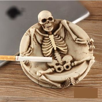 Skull Bone Handicrafts Resin Skull Ashtrays Skeleton With Cover Ashtray