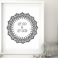 "Printable religious saying  ""Let go & let God"", Bible verse print, Scripture verse, pdf  wall art decor, printable Christian wall art -pp140"