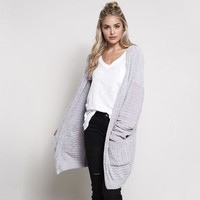 textured knit shawl cardigan - silver