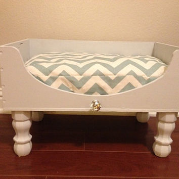 Upcycled Wine Crate Dog Bed Beautiful Grey Blue Cream Chevron Fabric