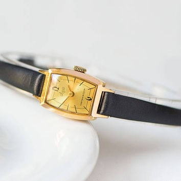 Rectangular gold plated women's watch minimalist jewelry for lady Ray delicate wristwatch classical timepiece gift new luxury leather strap