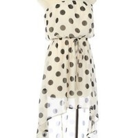 G2 Chic Women's Trendy Polka Dotted Tube Dress With High Low Hem