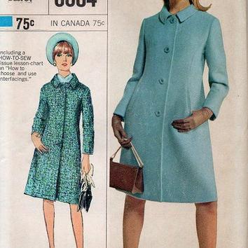 1960s Simplicity 6684 Sewing Pattern Mad Men Style Coat Designer Fashion Button Front Retro Uncut FF Bust 34